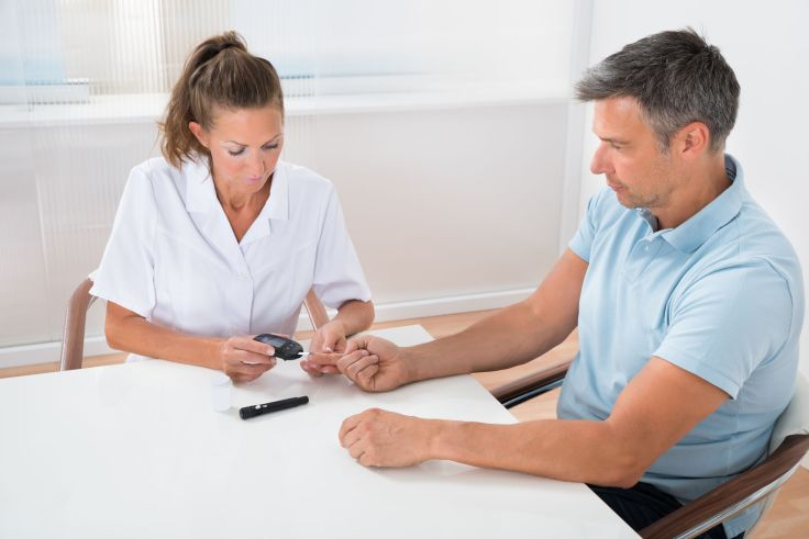 Doctor Checking Blood Sugar Level Of Patient